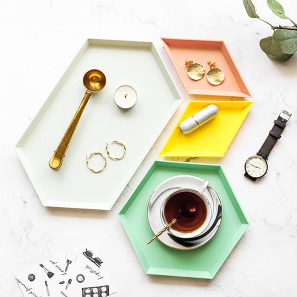 파스텔 육각 트레이 접시 4pcs 간식접시 디저트 카페 악세서리 보관함