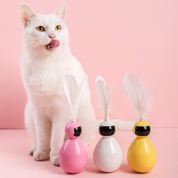 강아지 고양이 로봇 오뚝이 자동 깃털 장난감 스트레스해소 용품
