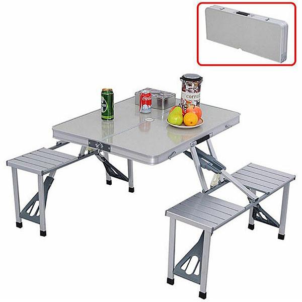 4인용 접이식 알루미늄 캠핑 테이블 의자 일체형 간편 테이블 AL