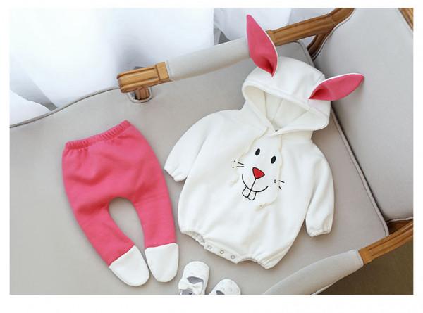 귀여운 핑크 토끼 귀달이 우주복 상하복 키즈룩 상하세트