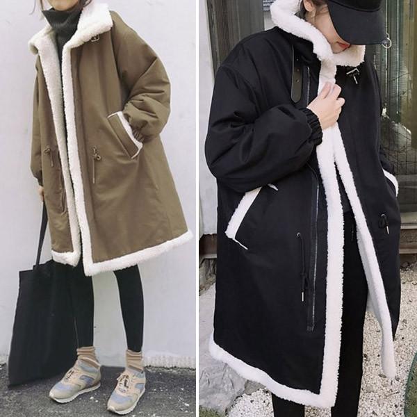 따뜻하고 포근함 겨울코트 여성 양털 코트 점퍼 롱코트 2종